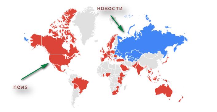 Карта: Новости vs News