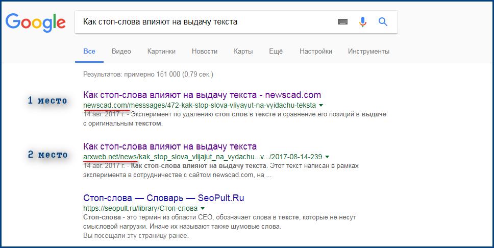 Выдача в Гугле